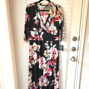 Faux Wrap Dress / Black Floral